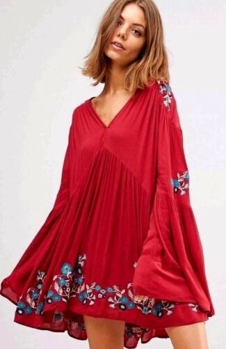 NWT Free People Te Amo Mini Dress Floral Embroidered Red Combo XS S
