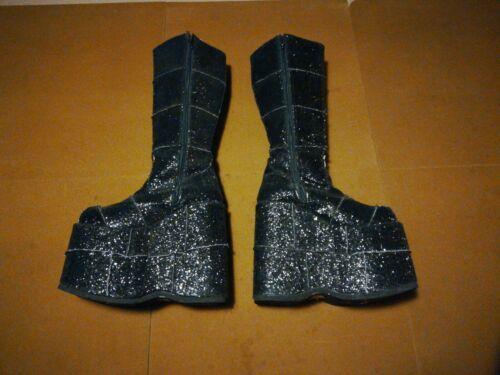 Demonia Stack 301 Black Glitter 7 Boots Free Shipp