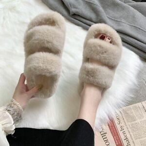 Winter Fuzzy Slippers Slides Faux Fur