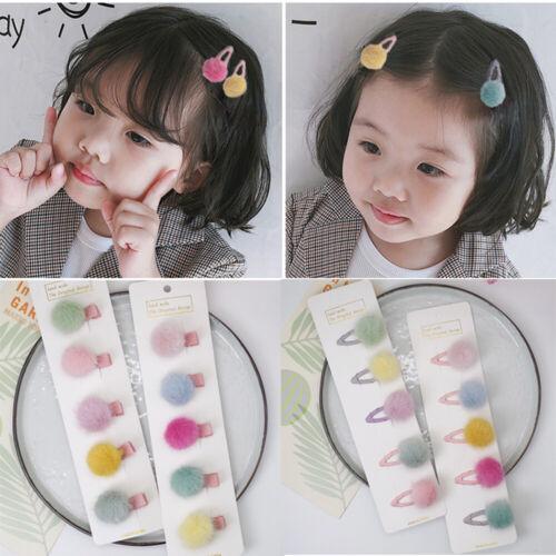 5PC//SET Korean Fur Ball Pompom Hair Clip Pin Barrettes Headwear For Baby Girl US
