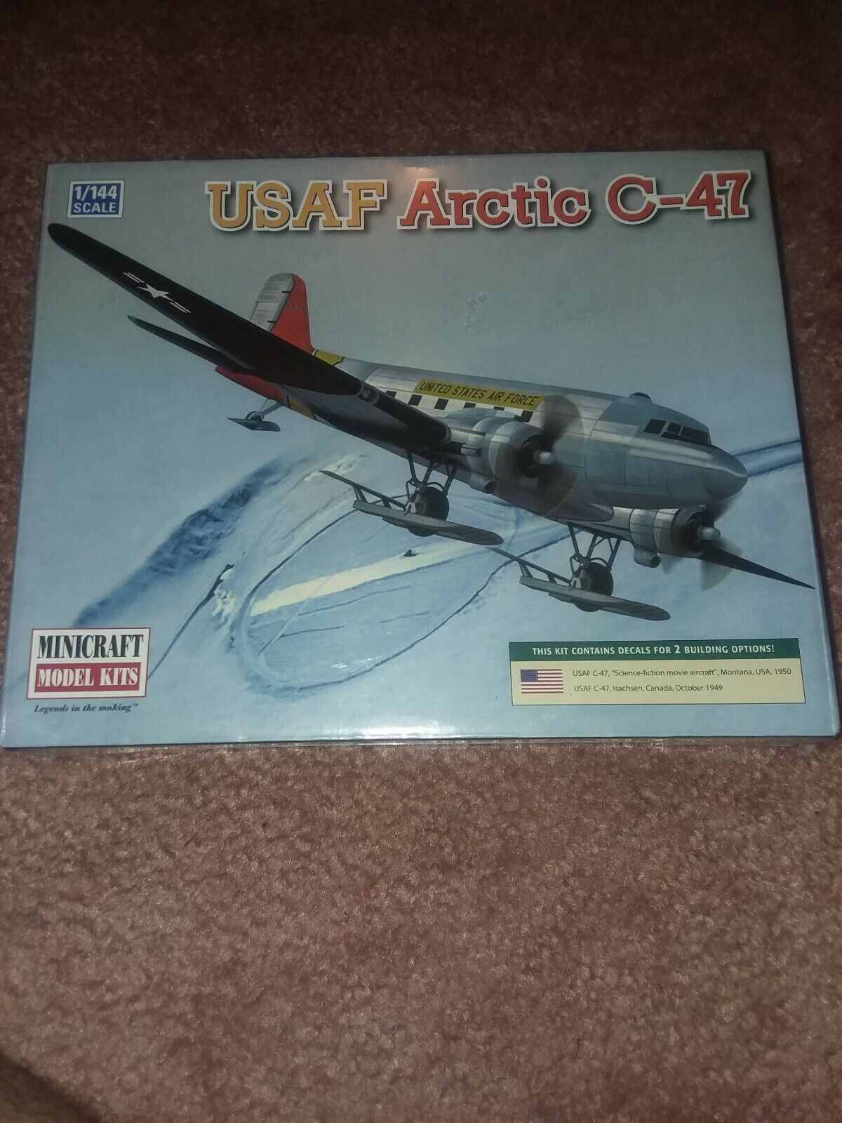 Minicraft Model Aircraft Kit 14671 - 1 144 Scale USAF Arctic C-47 Brand New