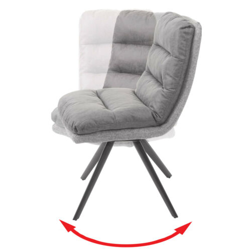 6x Dining Chair HWC-G66, Swivel Fabric/Textile Light Grey-Grey