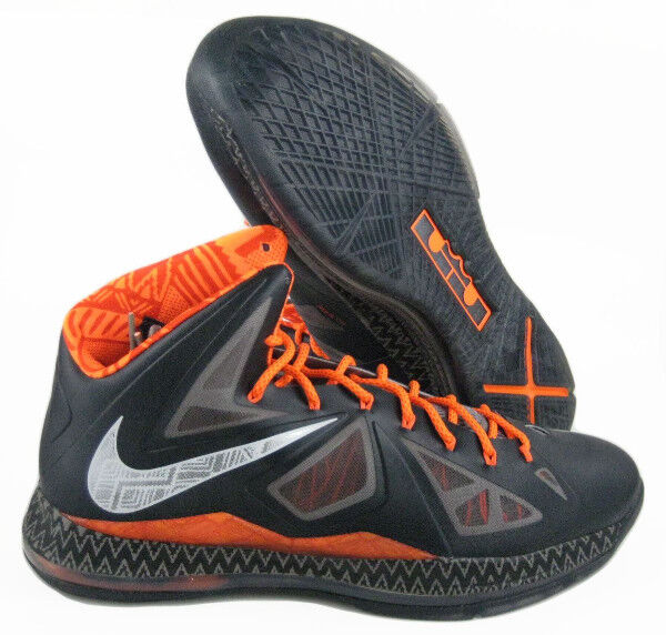 fc79829e3f06 Nike Lebron X 10 BHM Black History Month Sz 16 Gray Orange 583109-001 for  sale online
