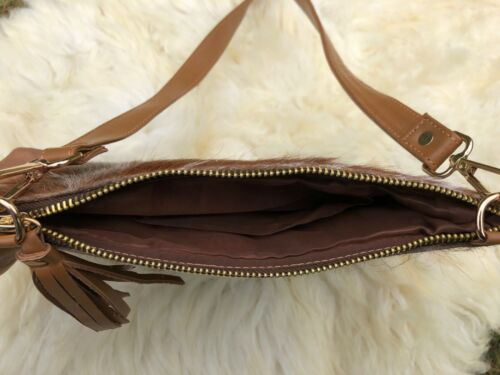 Cowhide Crossbody Purse Handbag Wallet Clutch Bags Dark Brown Cow Leather Fur