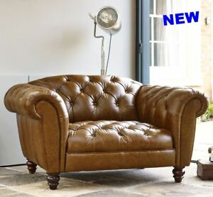 Image Is Loading Antique Leather Snuggler Chair Sofa Chesterfield On Chaise