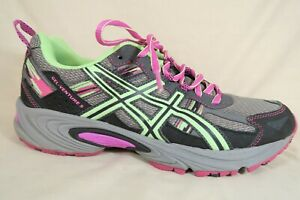 Asics-GEL-Venture-5-Gray-Pink-Green-Mesh-Athletic-Running-Shoe-Womens-10-D-Wide