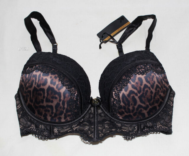 Playboy Ladies Bettie Matisse Black Animal Spot Plunge Push Up Bra Size 10C New