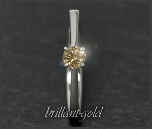 Diamant-585-Gold-Brillant-Ring-0-29ct-VVS-14-Karat-Weissgold-Ring-fuer-Verlobung