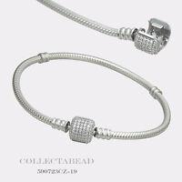 "Authentic Pandora Sterling Silver Bracelet with Signature Lock 7.9"" 590723CZ"