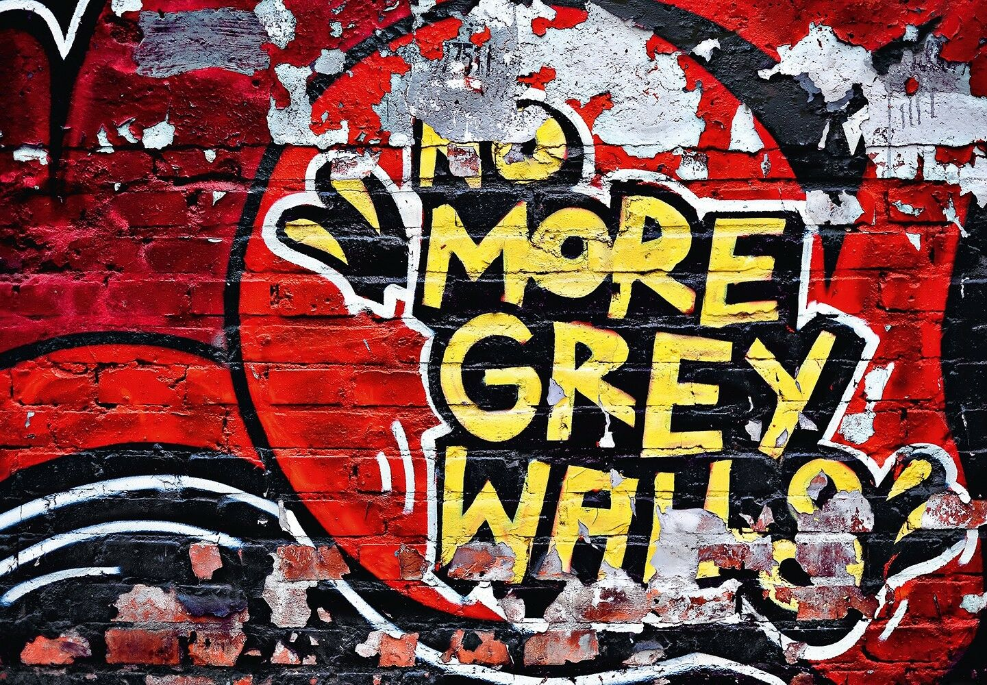 Wall mural photo wallpaper GRAFFITI Red wall art for home No More Grey Walls