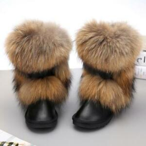 Femmes-hiver-chaud-en-cuir-veritable-fourrure-de-renard-epaissir-Talon-Plat-Cheville-Bottes