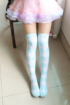 Lolita Kawaii Diamond Check Over-Knee Stocking Thigh-High Socks Academy 6colors