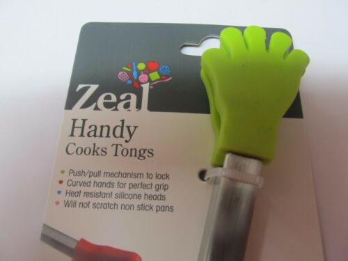 Silicone Assorted Colors   NEW Zeal #J130DISP Handy Cooks Tongs