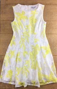 Sandra-Darren-Womens-Size-12-Dress-Yellow-White-Knee-Length-Fit-Flare-A-line