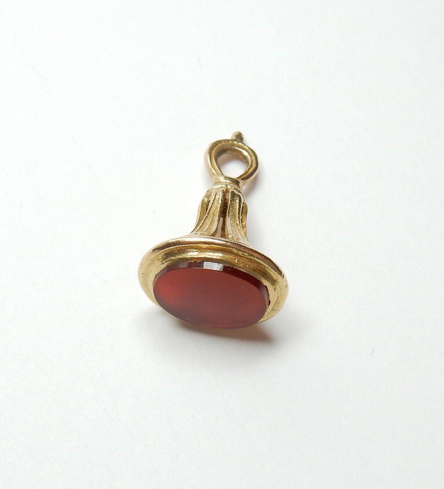 Fob cornelian  9 carat gold vintage charm fob  London 1972