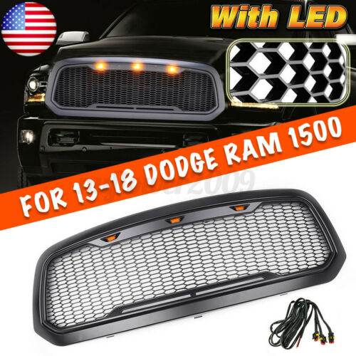 For 2013-2018 Dodge//Ram 1500 Grille ABS Honeycomb Bumper Grill Matte Black US .
