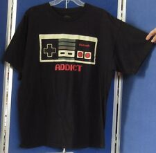 EUC Licensed NINTENDO ADDICT Black T-SHIRT 100% Cotton Short Sl Sz XL