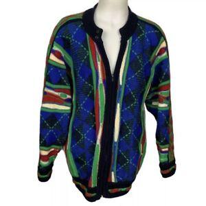 Vintage-Herren-90-039-s-Multi-Color-COOGI-Style-Hip-Hop-gestreift-Biggie-Smalls-Pullover