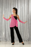 Uptown Girl Dance Costume Black Velvet Unitard/pink Mesh Top Mitts Not Included