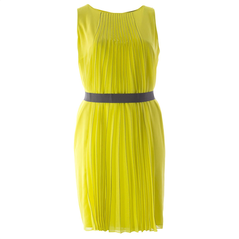 Marina Rinaldi Damen Gelb Dolmen Plissiert Kleid mit Gürtel Nwt