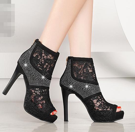 Femmes Plateforme Fermeture Éclair Arrière Strass Decor Floral Hollow haute chaussures à talon aiguille