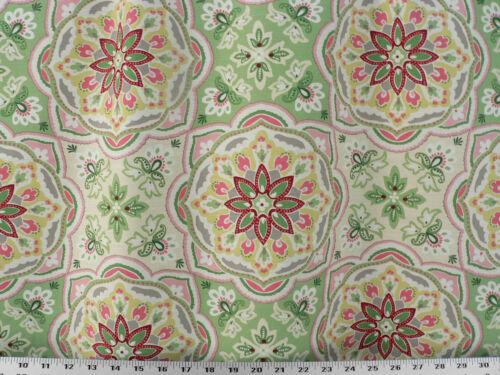 Pink//Green Drapery Upholstery Fabric 18K Dbl Rubs Slub Duck Suzanni Design