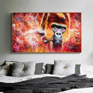 wall art canvas print animal painting gorilla smoking