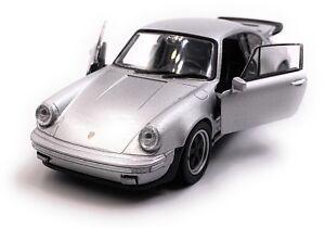 Porsche-911-turbo-930-auto-deportivo-coche-modelo-escala-de-plata-1-34-con-licencia-oficial