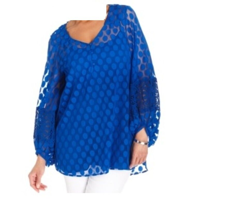 Woherren dot lace tunic top Wedding Mother Bride cocktail evening party plus 2X