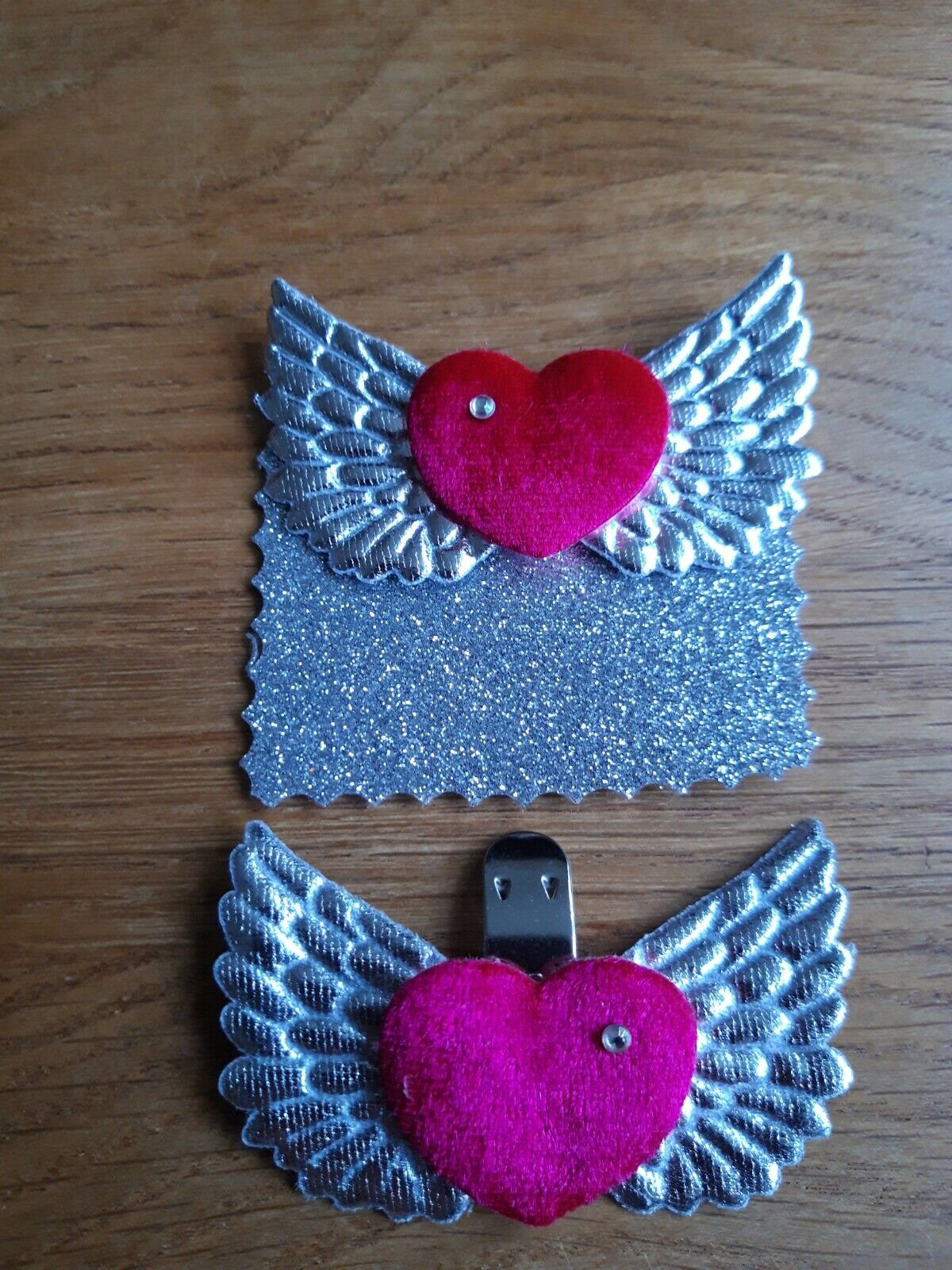 Hot Pink Velvet Hearts and Silver Wings Shoe Clips - Rock 'n' Roll Bride