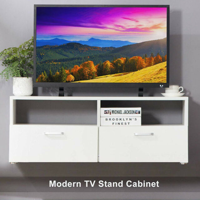 37 Wood Floating Tv Stand Wall Mounted Media Console W 2 Door Layers Shelves