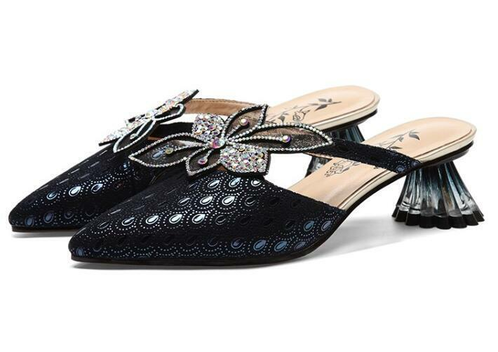 Lady Leather Hollow Out Clear Irregularity Heel Floral Rhinestone Rhinestone Rhinestone Slippers shoes 252ff0