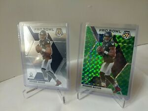 2020 Panini Mosaic Football Deshaun Watson Pro Bowl Green Prizm + Base Lot (2)
