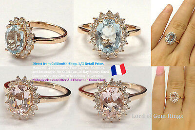 Real 14K Rose Gold 6x8mm Oval Pink Morganite VS Diamond Engagement Wedding Ring