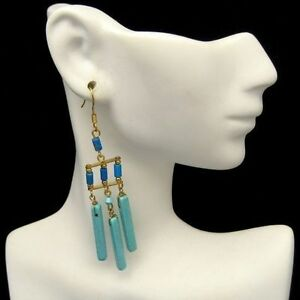 Vintage-Egyptian-Inspired-Pierced-Earrings-Chunky-Faux-Turquoise-Glass-Beads