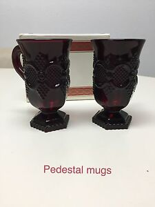 Avon 1876 Cape Cod Collection Ruby Red Glass 5 Tall Pedestal Mug