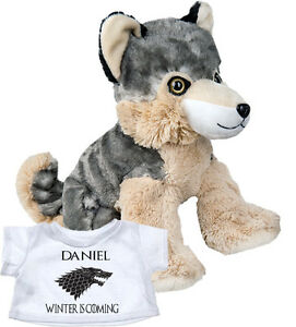 Personalised-Plush-Wolf-Teddy-Bear-Game-of-Thrones-Stark-Gift-Direwolf-T-Shirt