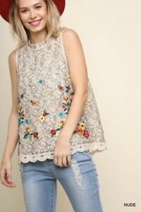 090469e312c UMGEE Multi-Color Floral Embroidered Lace Crochet Hem Sleeveless Top ...
