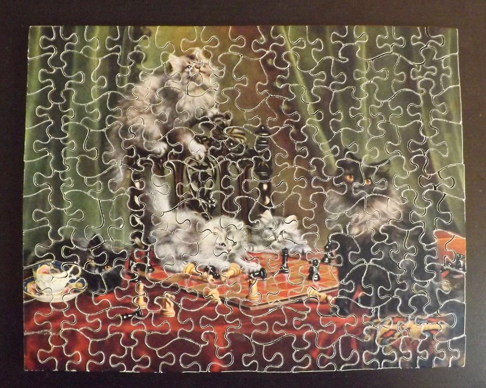 J. SALMON Vintage Wooden Jigsaw Puzzle 200 Pieces KITTENS & CHESSBOARD J910