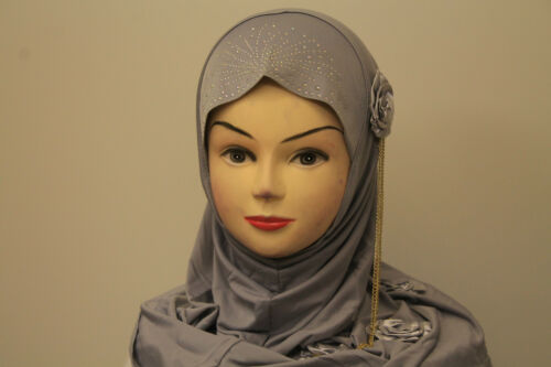Ladies womenbeautiful One Piece musulmano islamico Hijab Sciarpa Stola Fiore Diamonte