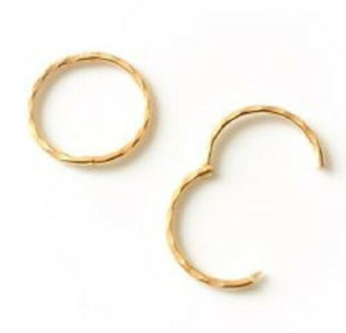 GOLD PLATED ON STERLING SILVER 925 13MM DIAMOND CUT HINGED SLEEPER EARRINGS
