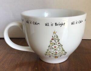Pottery-Barn-HOLIDAY-CHEER-20oz-Stoneware-Cups-Mugs-Christmas-Tree-All-Is-Calm