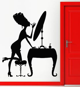 Wall stickers decal sexy girl beauty dressing table for Beauty parlour dressing table images