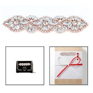 Sew-Iron-On-Applique-Motif-Rose-Gold-Rhinestone-Diamante-Crystal-Wedding-Dresses