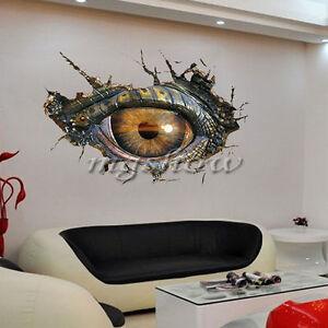 3D-Big-Dinosaurs-Eye-Wall-Sticker-Decal-Art-Decor-Vinyl-Home-Room-Mural-Broken