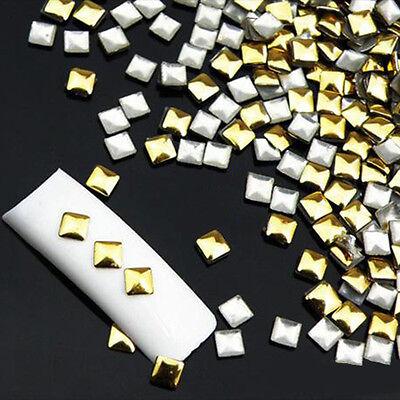 120Pcs Gold Silver Metal Nail Art Tips Fashion Metallic Studs DIY Stickers wheel