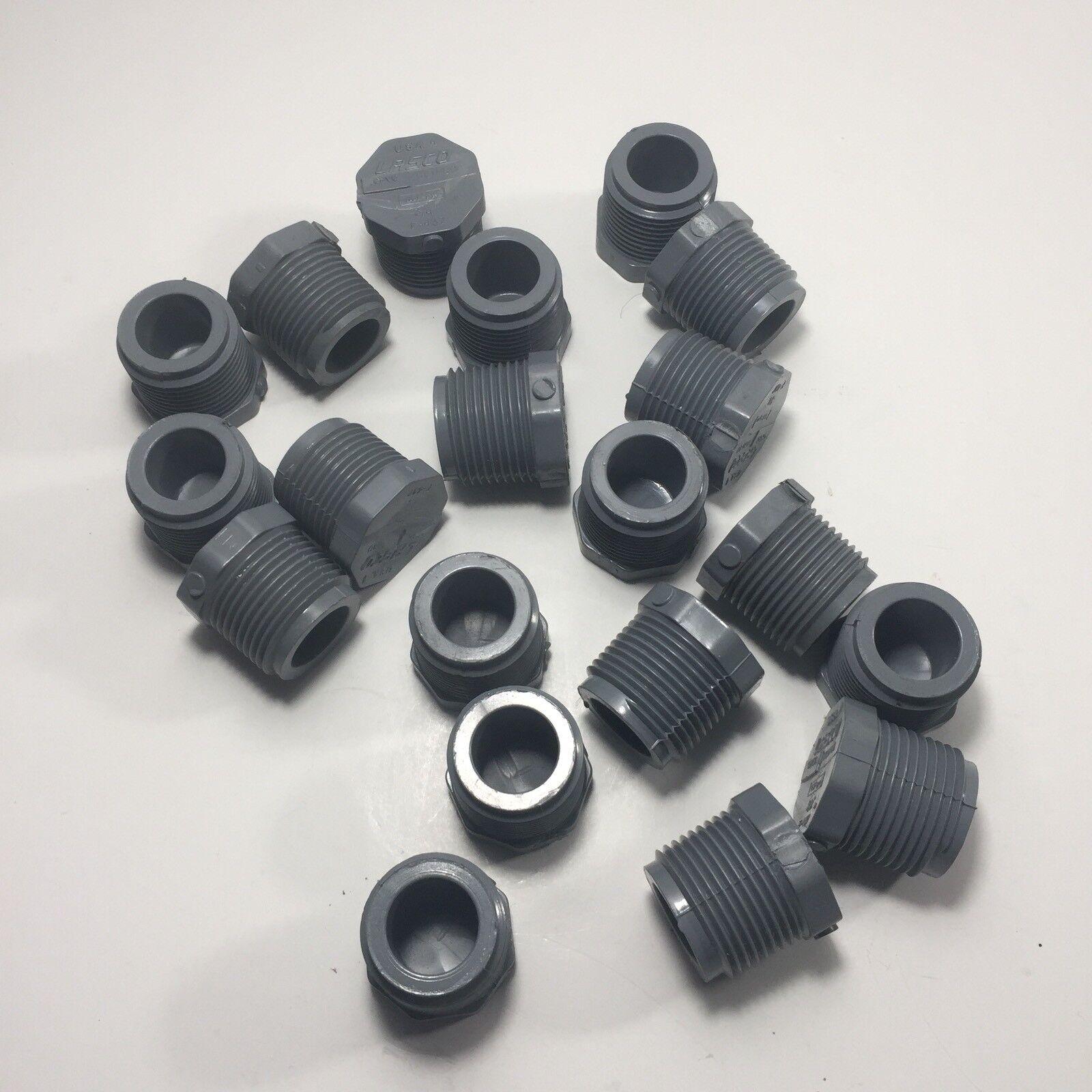 Lote de 20 LASCO 9850-007 - 3 4 anexo 80 gris enchufe de PVC roscado