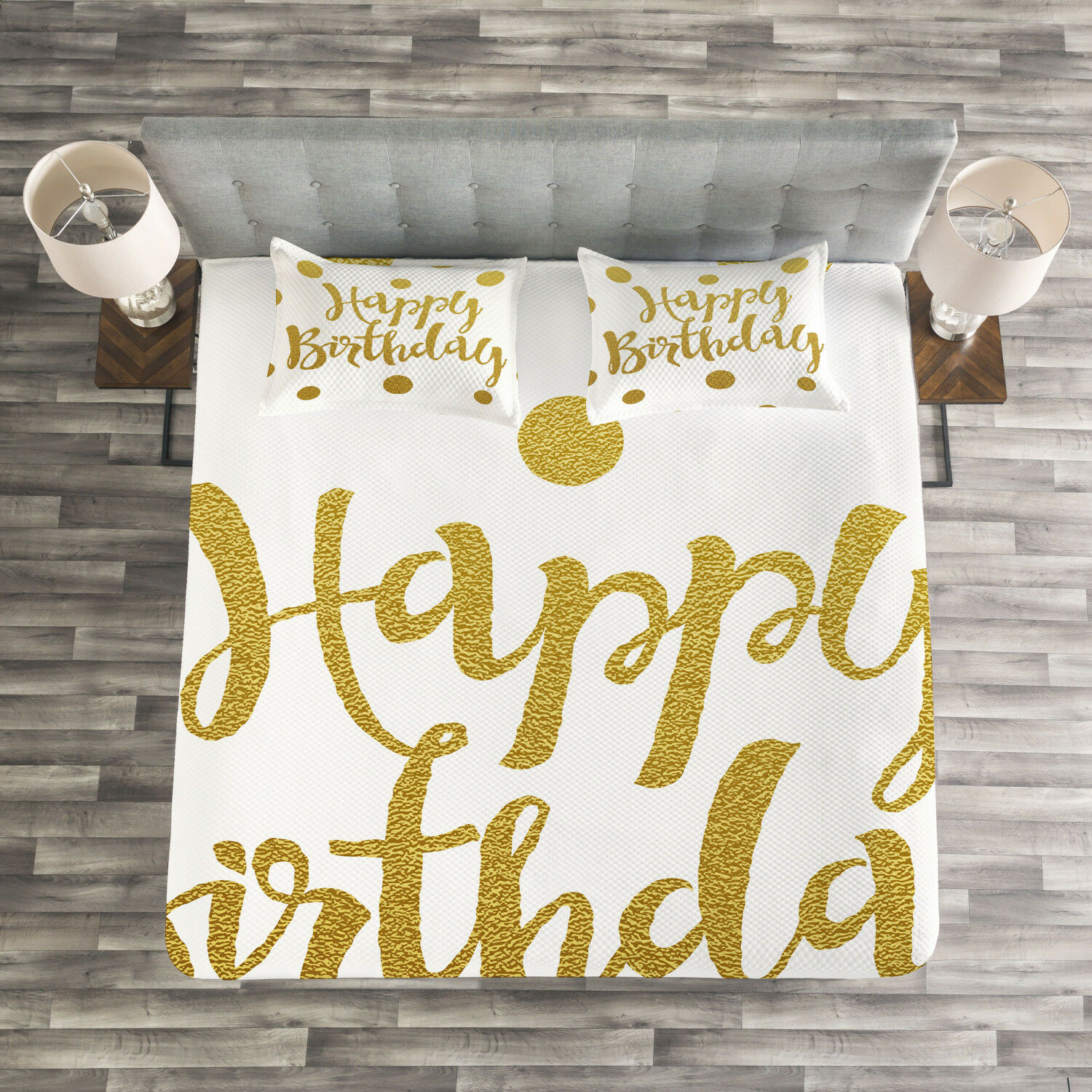 Birthday Quilted Bedspread & Pillow Shams Set, Hand Writing Greeting Print
