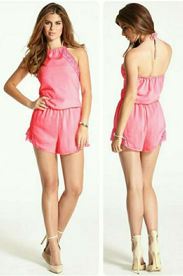 ♡♡ Guess The Flirty Awesome Pink Romper Lace Sz L ♡♡