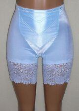 J NEW Aqua Blue Satin Long Leg Panty Girdle Wide Lace Med-Firm Control 48W 9X